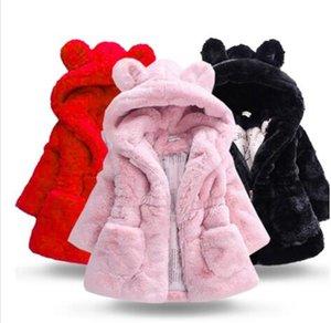 2019 Meninas de Inverno Velvet Faux Fur Coats crianças Quente Jacket Crianças espessamento velo Casacos bebê Coelho com capuz Snowsuit