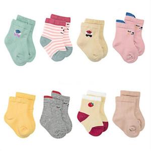 Calcetines del bebé de los niños Dibujos de algodón de mitad de tubo de calcetines zapatilla de deporte suave Casual calcetería rayada elástico del calcetín princesa Footsocks Calcetines 8pair / Lot C6984