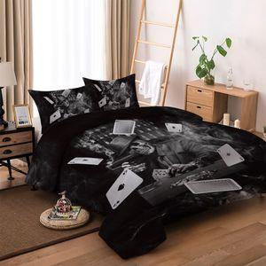 3D Kartları Baskılı Bedding Kafatası Kumarbaz Baskı Cadılar Bayramı Nevresim Seti Siyah Ev Tekstil İkiz Tam Kraliçe Boyutu ayarlar Çalma