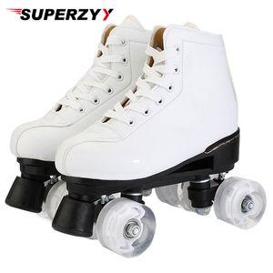 Rouleau en cuir artificiel Double ligne Patins Patins Femmes Hommes adultes Deux ligne Chaussures de skate Patines avec blanc PU 4 roues Patins