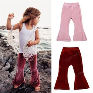 kids designer clothes girls Pants Leggings Spring Autumn Children Clothing Pleuche Solid Bell-Bottom Pants Casual Kid Flare Trousers