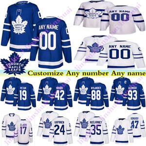 Männer Kinder Womans Toronto Ahornblätter Jerseys 17 Wendel Clark 93 Doug Gilmour Zach Hyman Kapanen Passen Sie eine beliebige Namenshockey-Jersey an