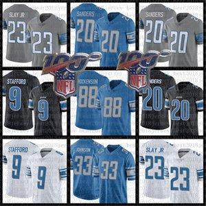 Detroitleones20 Barry Sanders Jersey de fútbol 88 T. J. Hockenson 9 Matthew Stafford 23 Darius Slay JR 33 Kerryon Johnson jerseys
