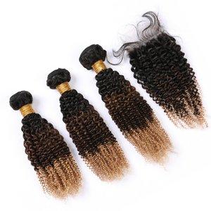 Pérou Kinkys Curly # 1B 4 27 Ombre de cheveux humains Weave Bundles et dentelle noire Fermeture Brown Honey Blonde Hair Extensions 3Tone Ombre