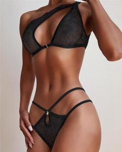 Lace Mulheres biquini preto das mulheres Sexy Bras Briefs 2pcs Bikini Suits oco Out Designer roupa de um ombro