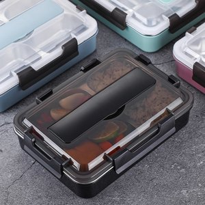 Stainless Steel 304 Lunch Box With Spoon Leak-proof Lunch Bento Boxes Dinnerware Set Microwave Adult Children Food Container T200530