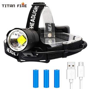 Novo 50000 Lumens LED XHP70 Farol recarregável Outputable Cabeça Lanterna 3 Modos Zoomable Farol Hunting Waterproof