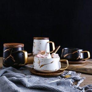 Copos De Café De Chá De Mármore De Cerâmica de luxo Matte E Com Pires De Madeira Preto e Branco de Ouro Inlay Copos de Cerâmica
