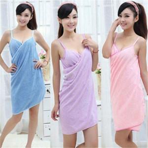 Dusche Thick Schnell trocknende Trockner Handtuch Bademantel Bade Wrap Handtuch Wearable Baden-Kleid-Kleid Schnell Turban Dry T200117