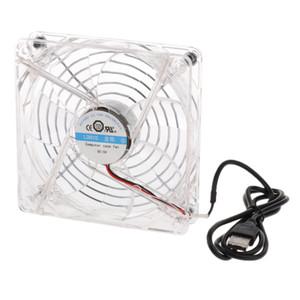 5В 12см USB вентилятор охлаждения радиатора синий светодиод для компьютера PC