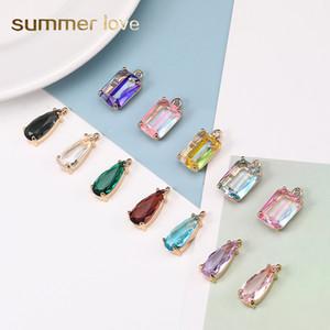Мода K9 кристалл кулон Charm Красочных площади капли воды Форма Transparent Подвеска для ожерелья серьги ремесла DIY ювелирных изделий Изготовления