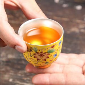 Gümüş çay bardağı 999 saf gümüş seramik örnek ana fincan servet sarı set gümüş fincan saf el yapımı ev