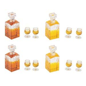 1:12 Échelle Dollhouse Mini Bouteille de vin de whisky de Whisky 4PCS et des jouets de meuble de 8x tasses