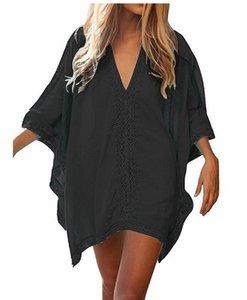 Женщины винтажных рубашек кружева Бич Cover Up Summer Shirt Топ девушки Твердой Одежды отдых Sexy Пляжный