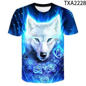 Novità Animal Print lupo 3D raffreddano divertente T-shirt corta estate del manicotto delle parti superiori della camicia T Moda T