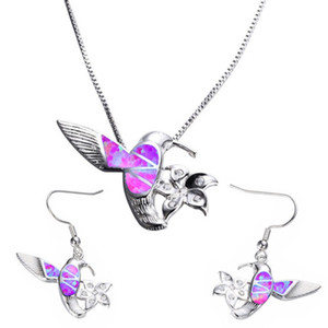 Wholesale 10 PC Silber überzogen viele Farben Opalite Opal-Anhänger-Verbindungs-Ketten-Halsketten-Tropfen-Ohrringe Modeschmuck Sets