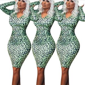 Seksi Sıkı Kadın Giyim, Yüksek Kalite Uzun kollu V-kurşun Body Shop Etek, Yeni Polyester Leopard Baskı Çanta Kalçalar Tek adımlı Etek