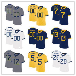 2019 2020 New Custom West Virginia Mountaineers WVU Football Jersey Qualquer Nome 7 Grier 4 Leddie Brown 8 Kwantel Raines 32 Martell Pettaway