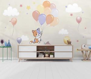 3D Дети обои Mural Воздушный шар котенок облака Фото Обоев Детская комната фона Стена Пользовательские 3D Фрески настенные