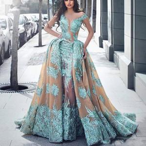 2019 Haute Couture Overskirt Vestidos de noche de sirena con tren desmontable Ilusión Escote Apliques de encaje Vestido largo de fiesta Robe de soiree