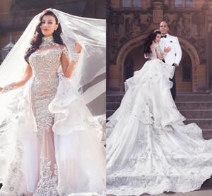 Платье роскошный Rhinestone Кристалл свадебное платье с Свадебное платье юбки высокого шеи бусы Аппликация Длинные рукава Русалка Люкс Дубай