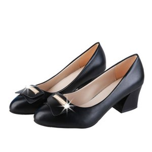 2020 new Free send Hot Shallow mouth shoes in spring and autumn new style with the rough heels and women's single shoes