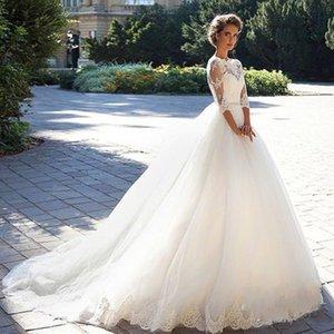 2020 vestido de novia manga francesa Nueva llegada del cordón moldeado vestido de fiesta de novia apliques de Vestido de Bono customed Vestidos de novia