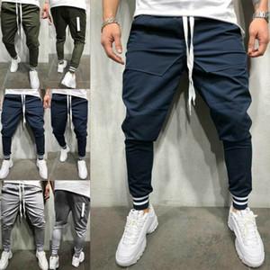 Модные мужские повседневные однотонные спортивные брюки спортивные трусцой днища тренажерный зал быстросохнущий дышащий пот длинные брюки