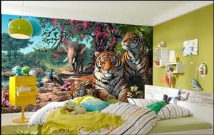 WDBH 3d photo papier peint personnalisé murale forêt animaux tigre éléphant peinture à l'huile salon décoration de la maison 3d peintures murales papier peint