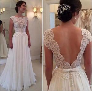 SCOOK-Hals-Spitze Chiffon-Strandmantel-Hochzeitskleid mit V-Rückseite 2019 Applikationen Hochzeitskleider New Casamento
