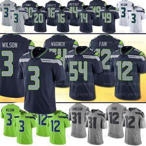 3 Russell Wilson Seattlehombres SeahawksPenny Jersey 54 Bobby Wagner Tyler Lockett 12 Ventilador 49 Shaquem Griffin 31 Kam Chancellor Rashaad