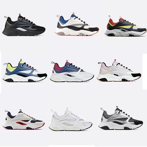 Designer B22 toile et cuir de vachette Sneaker Vintage Chaussures Hommes Femmes en tricot technique Entraîneur plat cuir véritable Sneakers Plate-forme 19 couleurs US12