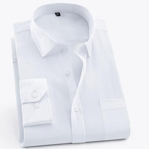 Increíble 2019 Camisas de vestir a rayas para hombres Camisas de vestir de fácil cuidado y trabajo social formal con bolsillo en el pecho Camisa de hombre elegante casual de otoño clásico