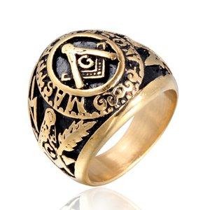 College-Stil (vergoldet) Edelstahl Freimaurer-Ring Freimaurer-Ringe Freimaurer-Schmuck gratis Freimaurer-Ring