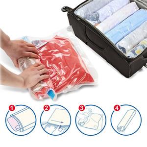 Mão rolamento de compressão a vácuo Saco da beira dobrável compactados Início Roupa Plastic Storage Bag Espaço Saving Seal Bags
