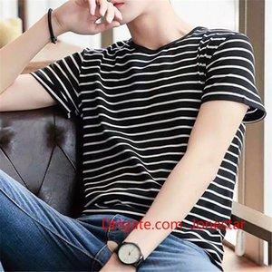 Stripe fashion tshirt casual round neck fashion short sleeve t shirt men slim fit harajuku t-shirt Men Clothing WGTX161 R
