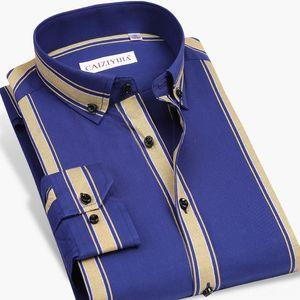 100 Pamuk Yüksek Kaliteli Erkek Gömlek Erkek Giyim Uzun Kollu Erkek Kalın Çizgili Elbise Gömlek Slim Fit İş adamı Stil Sosyal Erkekler Akıllı Casu