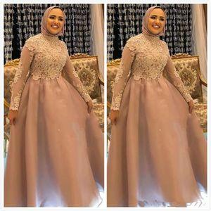 ASO EBI 2020 арабские мусульманские кружевные аппликации вечерние платья высокие шеи с длинными рукавами выпускных платьев