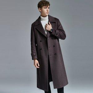 Extra-Long Двойное лицо Мужчины шерстяное пальто зима Новый стиль Теплый Slim Fit Расширенная Колено мужские шерстяные пальто и куртки Большой размер 6XL