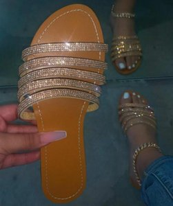 2020 лето Bling Bling женщин Handmade золота Тапочки плоские сандалии Rhinestone пляж Тапочки Открытый ToeComfortable Silver Слайды