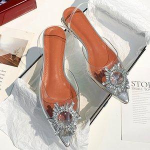 Strass argento piatto Sanda Donna Sandalo della signora Sandal Estate piatto scarpe sexy tacco basso Womens sandali di cristallo pattino di punta di copertura libera la nave Sandal