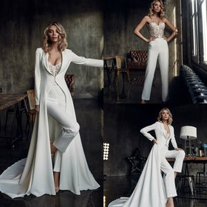 Fashion Bohemian Wedding Dresses Jumpsuits With Long Jacket Sweetheart Lace Boho Wedding Dress Custom Made Beach Bridal Gowns