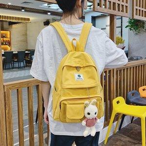 Fashion Canvas Women Backpack Korean Of Kawaii Backpack Multi-Pocket Schoolbag For Teenagers Girls Cute Student Bag 2020