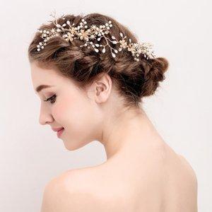 Dower me Jóia da flor do ouro do vintage do cabelo Comb nupcial Pérolas Cabelo Wedding Combs Mulheres Acessórios Headwear