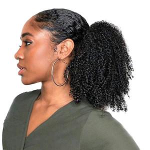 Mujeres Afro Kinky profundo culry Cola de caballo extensión del pelo de tracción por cable corto Negro Pony Colas Las colas de caballo postizo 15CM, 6inch