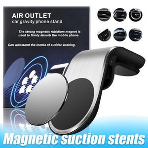 2020 Chegada Nova Car Holder Magnetic Telefone L Forma Car Air Vent Fone clip Magnet Universal celular Bracket Stand com Retail Box