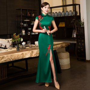 Embroidery Floral Elegant Stage Show Handmade Button Silm Qipao Chinese Traditional Women Dress Vintage Lady Sexy Cheongsam