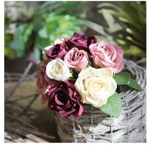 Neue künstliche Blume Rose künstlicher Bouquet echter Hauch Blumen für Hochzeit in der Familie Dekoration Urlaub Partei gefälschten Blumenkranz XD22259