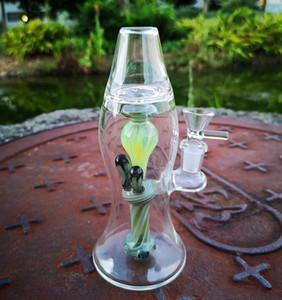 Neue Lava-Lampe Bong 8-Zoll-Heady Glas Wasser-Rohre Turbine Perc Thick Bongs Green Oil Dab Rigs 14mm Joint Mit Schüssel