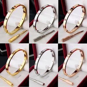 cartier bracelets love bracelet любовь титана стали серебряный браслет из розового золота браслеты Женщины Мужчины Винт Отвертка браслет Пара ювелирных изделий с